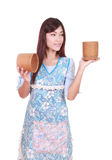 Female chef with bamboo rice box Stock Photography