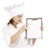 Female chef with blank clipboard Royalty Free Stock Photo