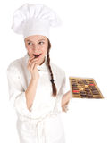 Female chef and chocolate box Royalty Free Stock Image