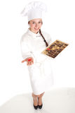 Female chef and chocolate box Royalty Free Stock Images