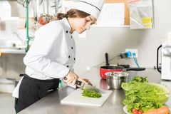 Cook Cutting Scallions In Kitchen. Female chef chopping scallions on board in restaurant kitchen royalty free stock photography