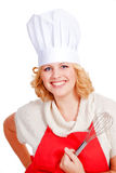 female chef cook with hat and red apron Royalty Free Stock Photography