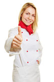 Female chef cook holding thumbs up Royalty Free Stock Photography