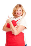 Female chef cook showing thumbs up Royalty Free Stock Photography