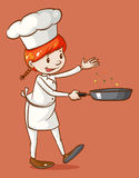 Female chef cooking with a pan Royalty Free Stock Photos