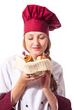Female Chef with croissant Stock Photo