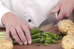 Female chef cutting spring onions with a kitchen knife Stock Image
