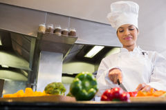 Female chef cutting vegetables in kitchen Royalty Free Stock Images