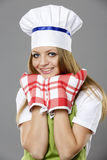 Female chef in different poses Royalty Free Stock Photo