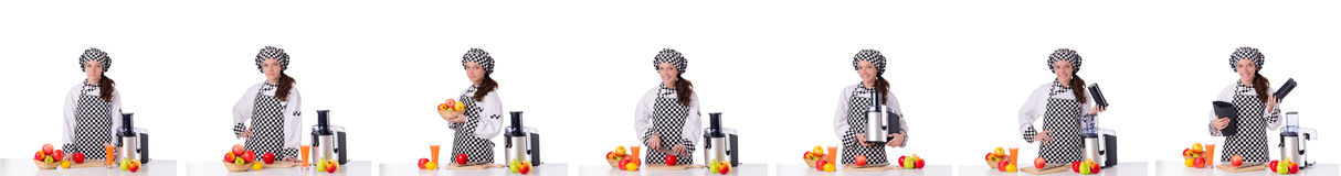 The female chef with fruits isolated on white Royalty Free Stock Photos