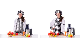 The female chef with fruits isolated on white Stock Photos