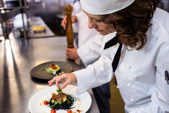 Female chef garnishing meal on counter. In commercial kitchen Stock Photos