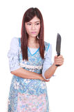 Female chef holding a carving knife Stock Photography