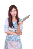 Female chef holding a carving knife Stock Images