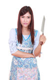 Female chef holding a carving knife Royalty Free Stock Image