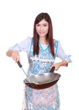 Female chef holding the frying pan isolated on white Royalty Free Stock Photography
