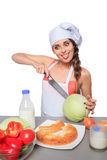 Female chef holding a knife with expression Stock Photography