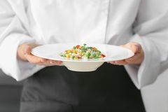 Female chef holding prepared dish. Closeup stock images