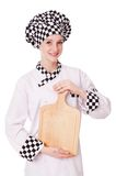 Female chef isolated on the white Stock Photo