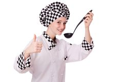 Female chef isolated on the white Royalty Free Stock Photos