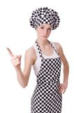 Female chef isolated on the white Stock Images