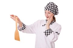 Female chef isolated on the white Stock Image