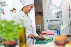 Female chef in kitchen Stock Images