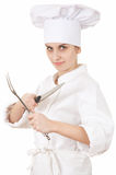 Female chef with knife and fork Royalty Free Stock Images