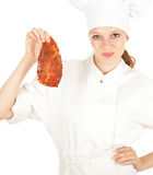 Female chef with meat, series Royalty Free Stock Image