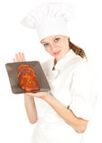 Female chef with meat, series Stock Photos
