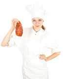 Female chef with meat, series Royalty Free Stock Photos