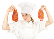 Female chef with meat, series Royalty Free Stock Images