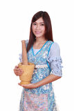 Female chef with mortar and pestle Stock Photography