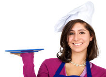 Female chef with a plate Royalty Free Stock Photography