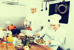 Female chef preparing fresh salad Royalty Free Stock Images