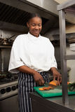 Female Chef Preparing Vegetables Stock Photo