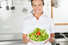 Female Chef Presenting Bowl Of Salad. Portrait of female chef presenting bowl of salad in commercial kitchen Stock Image
