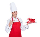 Female Chef Presenting Plate Stock Images