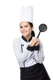 Female chef ready to cook Stock Photography