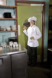 Female chef in restaurant Stock Photos