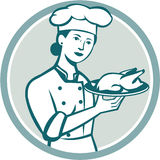 Female Chef Serving Chicken Roast Circle Retro Royalty Free Stock Photography