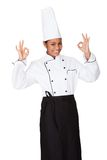 Female Chef Showing Ok Sign Royalty Free Stock Photos