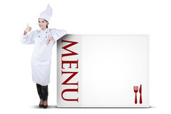 Female Chef Showing Thumb Up Royalty Free Stock Photo