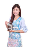 Female chef with tiffin Stock Photos
