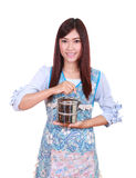 Female chef with tiffin Stock Images