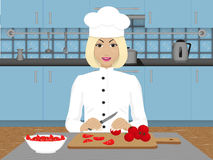 Female chef. In uniform on the background of the kitchen stock illustration