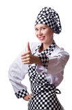 The female chef in uniform isolated on white Stock Images