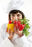 Female Chef With Vegetables Royalty Free Stock Images