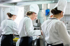 Female Chefs working in industrial kitchen. Team of female Chefs working in commercial catering kitchen royalty free stock images