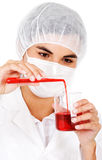 Female chemist with blood Royalty Free Stock Photo